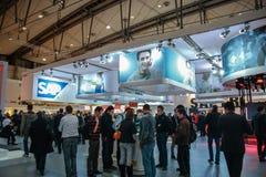 Stand von SAP-Firma an der CeBIT-Informationstechnologiemesse Stockfotografie