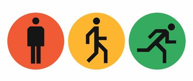 Three states icons of the human body position, stand, walk and run signs, simple abstract man symbols on circles. Stand, walk and run icons in red, yellow and vector illustration