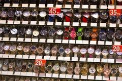 Stand with wrist watches. ISTANBUL, TURKEY - 6 APRIL  2016: Stand with wrist watches the Grand Bazaar: April 6, 2016 in Istanbul, Turkey Stock Photo