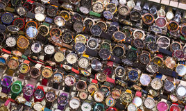 Stand with wrist watches. ISTANBUL, TURKEY - 6 APRIL  2016: Stand with wrist watches the Grand Bazaar: April 6, 2016 in Istanbul, Turkey Stock Images