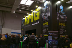 Stand of the XMG in CEBIT computer expo. HANNOVER, GERMANY - MARCH 5: stand of the XMG on March 5, 2011 in CEBIT computer expo, Hannover, Germany. CeBIT is the Stock Image