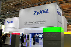 Stand of Zyxel in CEBIT computer expo Stock Photography