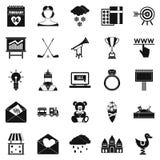 Standaard geplaatste pictogrammen, eenvoudige stijl Stock Afbeelding