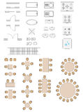 StandaarddieSymbolen in Architectuurplannen worden gebruikt Royalty-vrije Stock Foto's