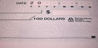 Standard bank check Royalty Free Stock Images
