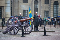 A standard bearer from the ancient artillery. The ceremony of changing of the guard at the Royal Palace. Stockholm Stock Image