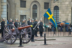 The standard-bearer with the flag before the formation of the royal guards. Divorce guard at the Royal Palace. Stockholm Royalty Free Stock Images