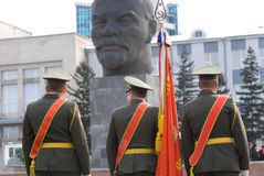 Standard-bearers and Lenin Royalty Free Stock Photography