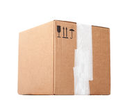 Standard big cardboard box isolated on white Royalty Free Stock Photo