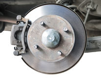 Standard car disc brake isolated on white. Background Stock Image
