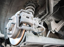 Standard car disc brake. With suspension in the back Royalty Free Stock Photos
