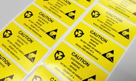 Standard caution label with text & x22;Caution& x22; for Electrostatic Sen Royalty Free Stock Photography