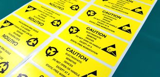 Standard caution label with text & x22;Caution& x22; for Electrostatic Sen Stock Photo