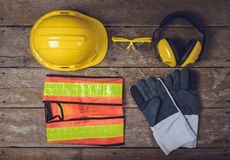 Standard construction safety equipment Stock Image