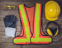Standard construction safety equipment Stock Images
