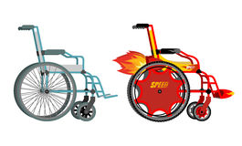 Standard and custom wheelchair. Armchair with turbo engine for h Royalty Free Stock Photo
