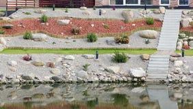 Standard design of the lake river bank Stock Photos
