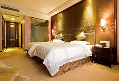 The standard double room in a hotel. A clean and tidy standard double room in a hotel royalty free stock images