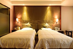 The standard double room in a hotel. To close the distance shooting a clean and tidy standard double room in a hotel stock image