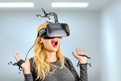 Standard equipment girl in virtual reality club Royalty Free Stock Photo