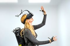 Standard equipment girl in virtual reality club Royalty Free Stock Images