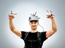 Standard equipment person in virtual reality club Royalty Free Stock Photography
