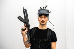 Standard equipment person in virtual reality club Royalty Free Stock Photos