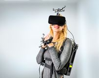 Standard equipment on woman in vr club Royalty Free Stock Photography