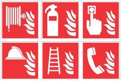 Standard fire safety sign collection. High quality Royalty Free Stock Photography