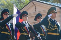 The standard group of the honor guard, internal troops of the MIA of Russia Royalty Free Stock Photography