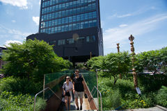 The  Standard Hotel and High Line Park in New York City. On a sunny day Royalty Free Stock Photo
