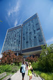 The  Standard Hotel and High Line Park in New York City. On a sunny day Stock Photos