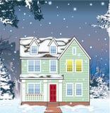 Standard House winter snowfall Vector Royalty Free Stock Photos