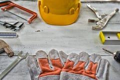 Standard konstruktionssäkerhetsutrustning Arkivbild