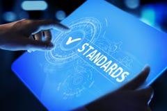 standard Kontrola jako?ci ISO certyfikat, zapewnienie i gwarancja, Internetowy biznesowy technologii poj?cie obrazy stock