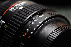 Standard lens. Standard camera lens with aperture ring royalty free stock photography