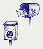 Standard mailbox with mail Stock Photography