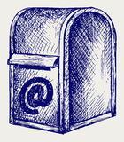 Standard mailbox with mail Royalty Free Stock Image