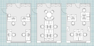Standard office furniture symbols on floor plans Royalty Free Stock Photography