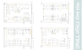 Standard office furniture symbols on floor plans Stock Photography