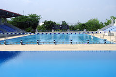 Standard outdoor swimming pool. Beautiful view of standard swimming pool out door royalty free stock photography