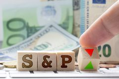 Standard and poor's credit ratings on business, investment, countries and stock market stock images