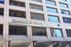 Standard & Poor's. Financial Services (S&P), a financial services company located on Wall Street, in New York City. S&P is known for its stock market indices stock photography