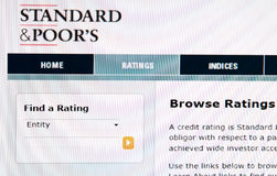 Standard and Poor's ratings. Screenshot of Standard and Poor's research homepage. Financial ratings for European countries are crucial for their economies royalty free stock photography