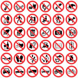 Standard Prohibition sign collection Royalty Free Stock Images
