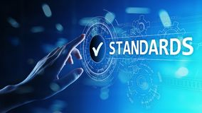 Standard. Quality control. ISO certification, assurance and guarantee. Internet business technology concept. royalty free stock photo