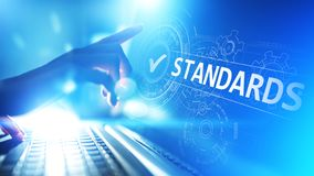 Standard. Quality control. ISO certification, assurance and guarantee. Internet business technology concept. Standard. Quality control. ISO certification stock images