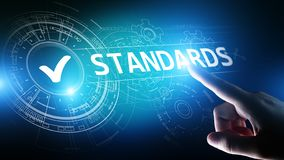 Standard. Quality control. ISO certification, assurance and guarantee. Internet business technology concept. stock photography