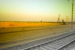 Standard railway and Asian rural agricultural landscapes. Stock Images