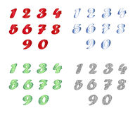 Standard set of numbers in four variants. Royalty Free Stock Photography